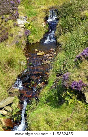 Waterfall in the Peak District in Derbyshire, England