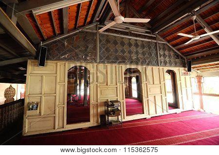 Interior of Langgar Mosque at Kota Bharu, Kelantan, Malaysia