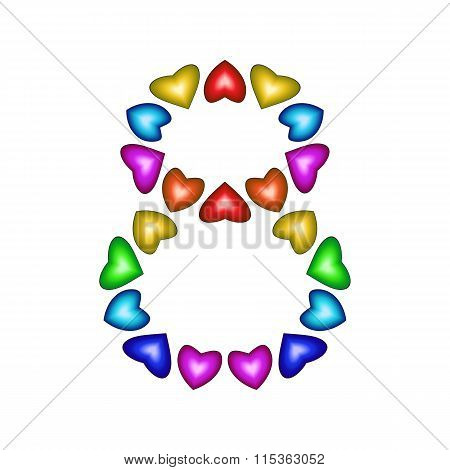 Number 8 Made Of Multicolored Hearts