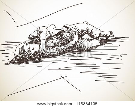 Sketch of beggar kid lying on the ground , Hand drawn illustration