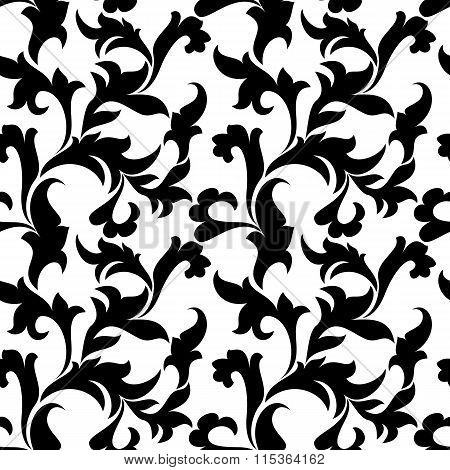 Classic seamless pattern. Tracery of leaves on a white background. Vintage style
