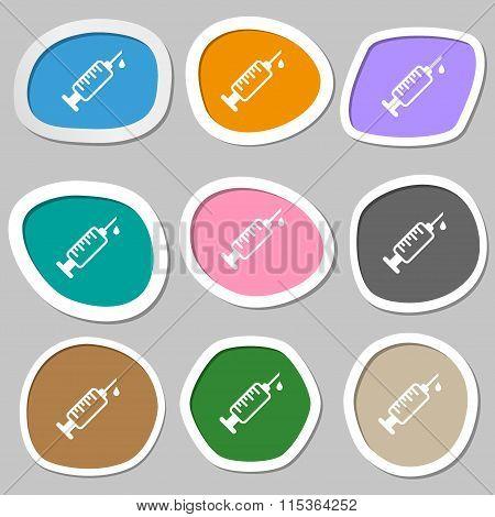 Syringe Symbols. Multicolored Paper Stickers.
