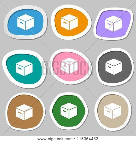 Packaging Cardboard Box Symbols. Multicolored Paper Stickers.