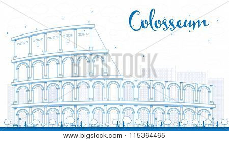 Outline Colosseum in Rome. Italy. Vector illustration. Business Travel and Tourism Conceptwith Historic Landmark.Image for Presentation, Banner, Placard and Web Site.