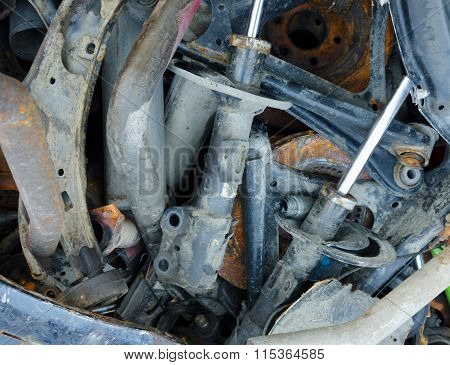 Useless, worn out rusty brake discs shock absorber and other