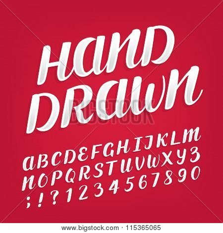 Hand drawn alphabet vector font