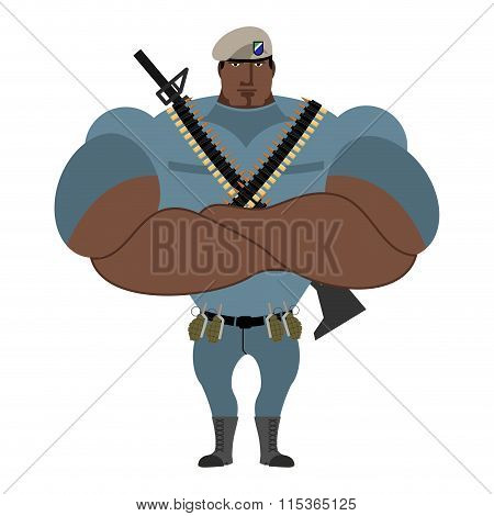 Military Strong. Powerful Big Soldier. Beige Beret Special Forces. Troopers With The Military Access