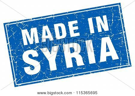 Syria blue square grunge made in stamp