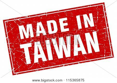 Taiwan red square grunge made in stamp