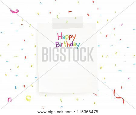 Happy birthday greetings on note paper