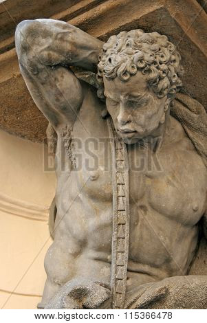 Prague, Czech Republic - April 16, 2010: Muscular Atlas Supporting An Old Building In Prague, Czech