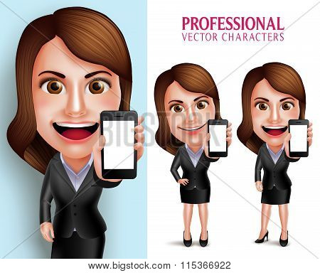 rofessional Woman Character with Business Outfit Happy Smiling Showing Blank Screen Mobile Phone