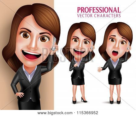 Professional Woman Character with Business Outfit Happy Smiling While Talking in Mobile