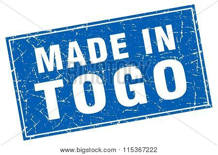 Togo blue square grunge made in stamp