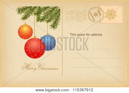 Vintage Merry Christmas Greeting Card With Balls.