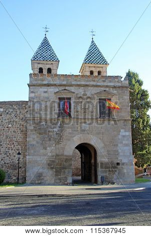 Toledo, Spain - August 24, 2012: The Puerta De Bisagra Nueva (the New Bisagra Gate) That Is The Best