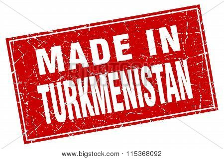 Turkmenistan red square grunge made in stamp