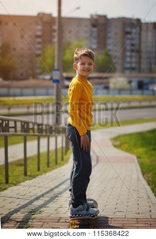 Active Childhood. Cool Looking Skater Boy. Skateboarder  Skating