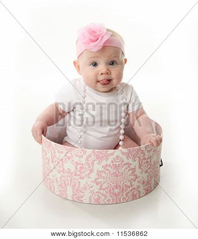 Pretty Baby Sitting In A Hatbox
