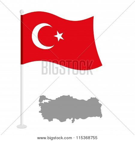 Turkey Flag . Red National Flag Of Country. Turkish State Patriotic Character. Map Of Turkey.