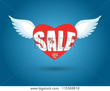 Valentines Day Sale. Red Heart With Wings. Sales, Discount In February. 14 February Holiday Lovers.