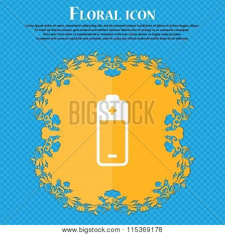 Battery Icon. Floral Flat Design On A Blue Abstract Background With Place For Your Text.