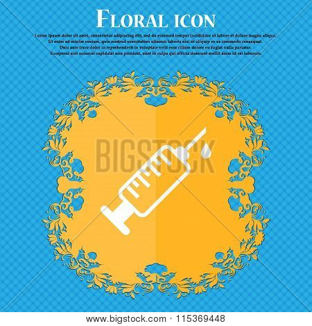 Syringe Icon. Floral Flat Design On A Blue Abstract Background With Place For Your Text.