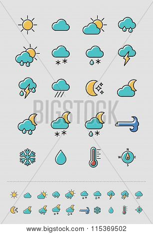 Meteorology Weather icons set