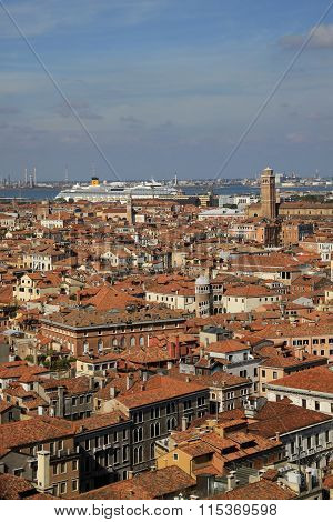 Venice, Italy - September 02, 2012: Aerial View Of Venice From St Mark's Campanile Bell Tower