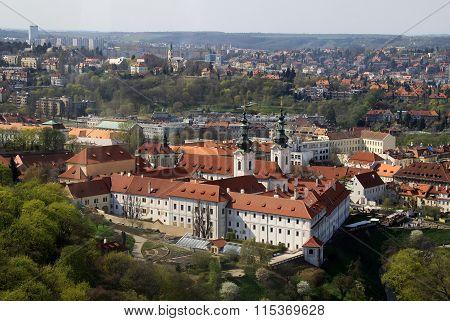 Prague, Czech Republic - April 24, 2013: The Aerial View Of Strahov Monastery From Petrin Hill. Prag