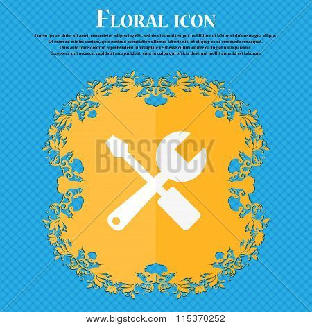 Wrench And Screwdriver Icon. Floral Flat Design On A Blue Abstract Background With Place For Your
