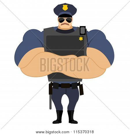 Police In Flak Vest. Powerful Policeman In Police Uniform. Servant Of  Law With A Mustache. Serious