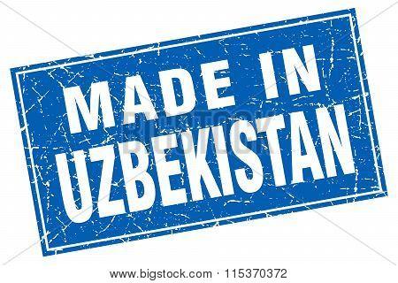Uzbekistan blue square grunge made in stamp