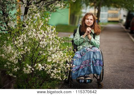 Yong Beautiful Woman Smiling In A Wheelchair In The Park.