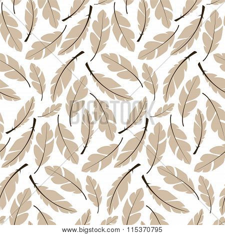 Seamless Pattern Design With Bohemian Hand Drawn Feathers