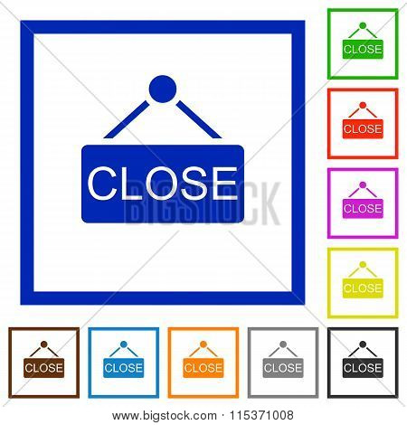 Hanging Close Sign Framed Flat Icons