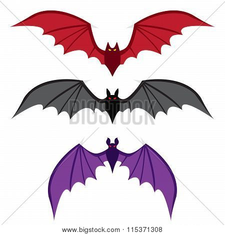 Set Of Bat With Big Wings In Color In Flat Style