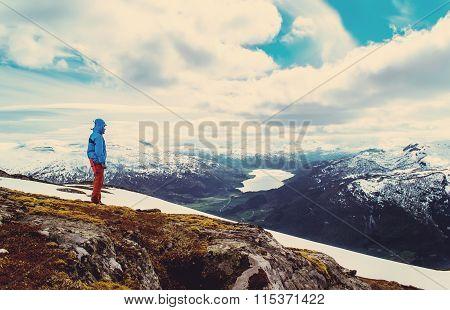 Hiker On A Hilltop. Vintage