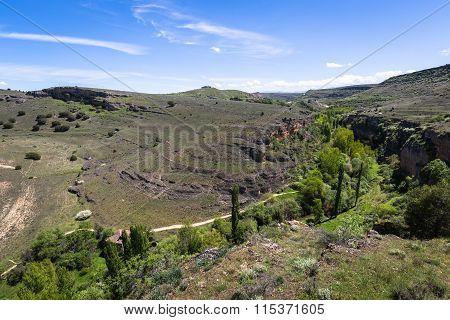 Duraton Canyon And Sepulveda. Segovia. Castilla Leon. Spain. Europe.