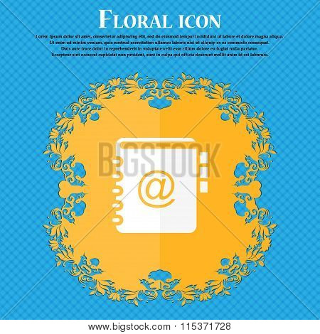 Notebook, Address, Phone Book Icon. Floral Flat Design On A Blue Abstract Background With