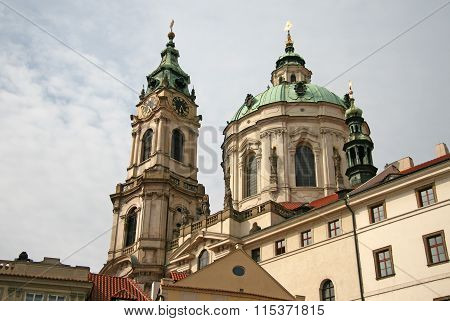 Prague, Czech Republic - April 16, 2010: St. Nicholas Church In Mala Strana Or Lesser Side, Beautifu