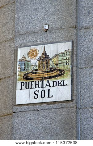 Madrid, Spain - August 23, 2012: A Ceramic Tile With Madrid Street Name (puerta Del Sol), Spain