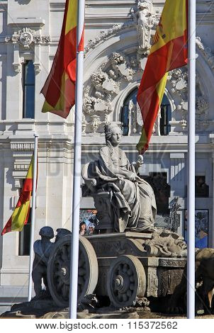 Madrid, Spain - August 24, 2012: Cibeles Fountain At Madrid, Spain