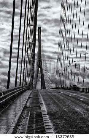 The bridge Pont de Normandie crosses the Seine river near Le Havre