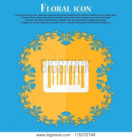 Barcode Icon. Floral Flat Design On A Blue Abstract Background With Place For Your Text.