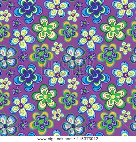Vector seamless floral pattern in bright multiple colors. Colorful background with flowers and dots in style of child drawing or hippi. Positive spring summer texture.