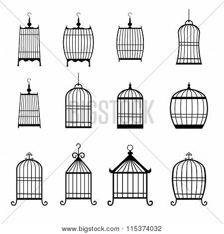 Set Of Modern Bird Cages. Editable
