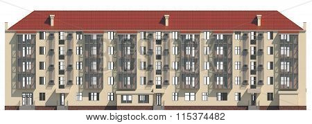 3D illustration of a facade of an inhabited apartment house in beige color
