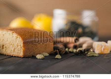 Spices Cake On Rustic Table