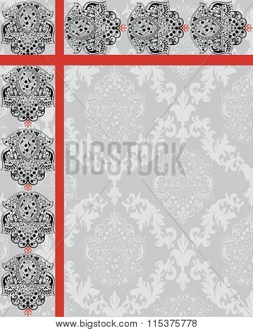 Vintage invitation card with ornate elegant retro abstract floral design, black flowers and leaves on gray background with red ribbon. Vector illustration.